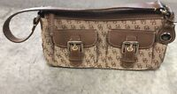 Dooney and Bourke Double Brown Shoulder Bag With Front Pockets DB Print Pattern