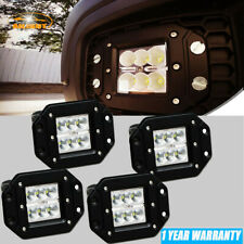 4Pcs 18W Flood LED Cube Pods Work Light Flush Mount Offroad Truck Square