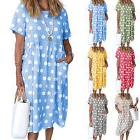 Women's Summer Smock Dresses Ladies Holiday Beach Casual Loose Midi Sundress