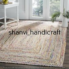 Braided Jute & Cotton Rug Bohemian Area Rug Handmade Natural Rug 6x9 Feet Carpet