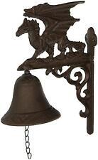 Campana de hierro fundido Gótico Al Aire Libre Dragón figura Murdock campanas Montado en Pared Jardín