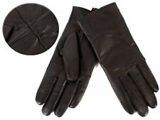 LADIES SOFT REAL LEATHER PLAIN PANEL DRIVING WINTER GLOVES LINING THERMAL