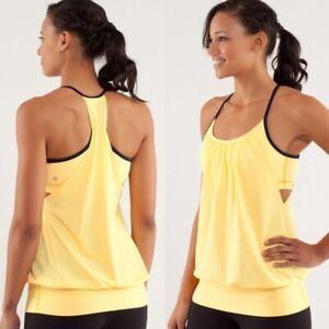 RARE Lululemon No Limits Tank Burning Yellow Sz 6 Yoga Pilates Run Workout EUC