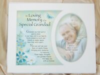 "MEMORIAL PHOTO MOUNT FOR 10""x8"" FRAME/PHOTO 5""x3.5"" VERSE FOR GRANDAD OR GRANDMA"