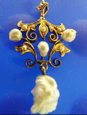 1880s Antique Victorian 14k Solid Gold Pendant NATURAL AND SEEDED PEARLS