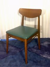 Mid Century Modern Danish Bent Wood Dining Chair with Green Seat