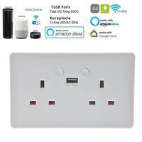 UK-Plug Wall Socket Dual USB Smart WiFi Double APP Outlet For Alexa Google Home