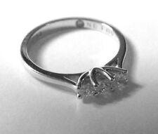 Diamond Not Enhanced White Gold Three-Stone Fine Rings