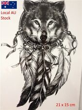 Wolf with Feather Cool Beauty Tattoo Waterproof Hot Temporary Tattoo Stickers