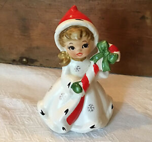 Vintage Napco Snowflake Candy Cane Christmas Girl REPAIRED #x8387