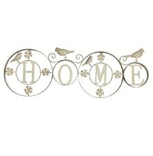 """Home & Garden Décor Metal Wall Art Wall Hanging Plaque """"HOME"""" Sign with Birds"""