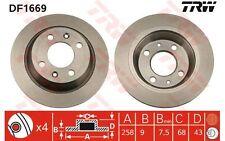 TRW Juego de 2 discos freno 258mm SAAB 900 9000 DF1669