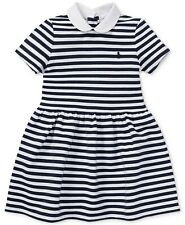 Polo Ralph Lauren Toddler Big Girls Striped Fit & Flare Dress - 6X - White/Navy