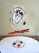 Hand Painted Wine Glass Cards Poker Black Jack Las Vegas  Stemware