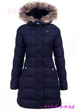 NEW Womens PUFFER Faux Fur PADDED Ladies JACKET COAT Black Size 8 10 12 14 1LONG