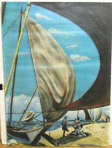 """C.DURHAM """"LAZY DAY ORIGINAL OIL ON CANVAS SEASCAPE BOATS PAINTING"""