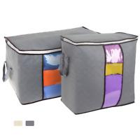 2Pcs US Capacity Dust-Proof Clothes Storage Bag Clothing Pillow Quilt Organizer