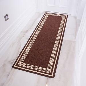 Brown Traditional Hallway Runner Rug Washable Non Slip Runners Long Hall Mats
