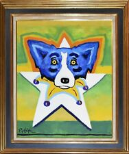 George Rodrigue Blue Dog Star Of Mardi Gras Acrylic On Canvas Signed Artwork