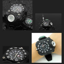 Military Tactical USB LED Sport Wrist Watch Flashlight Compass Light 5 Modes BPO