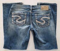 Silver Womens Jeans Aiko Boot Cut Medium Wash Thick Stitch size 28 x 29