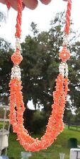 Vintage Pink Angel Skin Coral & Pearl Necklace w/ 14k Gold Clasp & bead spacers