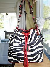 Dooney & Bourke Red/Zebra Drawstring Hobo