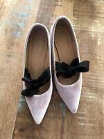 J. Crew Avery Velvet Pumps with Bow Sz 7 VINTAGE QUARTZ Pink Shoes H1859