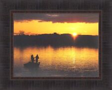 SUNRISE ON THE LAKE by Lori Deiter 17x21 FRAMED PRINT Sunset Fishing Fish Boat