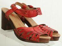 Miz Mooz Hilary Red Strappy Ankle Strap Wood Heel Clog B752-32 Women's US 7.5
