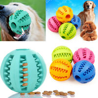 Pet Dog Puppy Cat Training Dental Toy Rubber Ball Chew Treat Dispensing Holder B