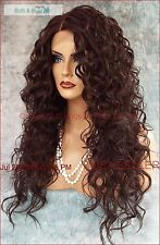 SWISS LACE FRONT DEEP LACE PART LONG CURLY HEAT FRIENDLY WIG COLOR #4  SEXY 1038