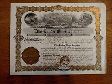 Stock Certificate Elko-Lander Mines Company Mining images front&back Utah 1910