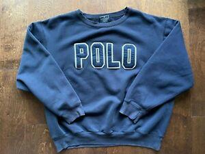 Polo Ralph Lauren Spellout Sweatshirt LARGE Pesci USA Tokyo P-Wing Stadium 1992