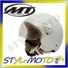 CASCO MOTO SCOOTER HELMET JET MT IN ABS RETRO LEATHER BIANCO TAGLIA XS