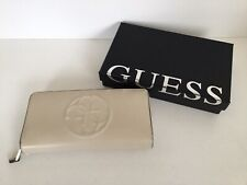 Guess Cream Faux Leather Clutch Purse Wallet Zip 8 Card Slots Coin Purse, VGC