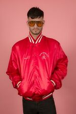 Vintage red & white embroidered satin varsity jacket Darien Summer Ice Hockey