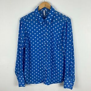 Amisu Womens Top Large Blue Polka Dot Long Sleeve Collared Button Front