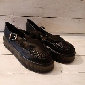 NEW Womens Mary Jane T-Strap Pumps Creeper Platform Chunky Shoes Black