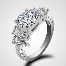 Size 10 Women's Zircon White Sapphire Wedding Finger Ring Copper Jewelry Gift