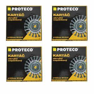 4 x Rotary Twist Knot Steel Wire Wheel Brush Semi Flat 125mm Angle Grinder
