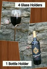 Deluxe Outdoor Stakes, 4 Wine Glasses & Bottle Holder 5 pcs Blacksmith made USA