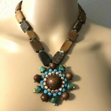 Turquoise and Wood Pendant Statement Necklace Set with Bracelets Fashion Bling