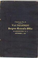 1883 SURGEON GENERAL'S OFFICE - War Dept. - Circular No. 3 - Washington, D.C.