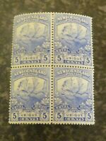 NEWFOUNDLAND POSTAGE STAMPS SG134 FIVE CENTS BLOCK OF 4 BLUE LIGHT MOUNTED MINT