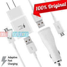 OEM Samsung Fast Charger Galaxy S6, S6 Edge Wall & Car Charger w/ Two Data Cable