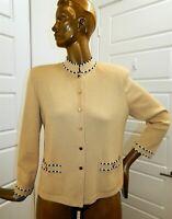 St John Collection sz 12 Beige Santana Knit Black White Jacket USA