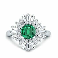 5Ct Round Green Emerald Diamond Ballerina Cocktail Ring 14K White Gold Finish