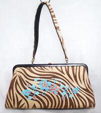 ISABELLA  FIORE Tan Suede Zebra Stripe Frame Handbag Blue Bead Floral Detail