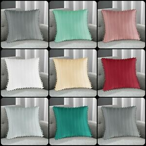 "New Luxury Quilted POM POM 17"" x 17"" Cushion Cover or Filled Cushions all colour"